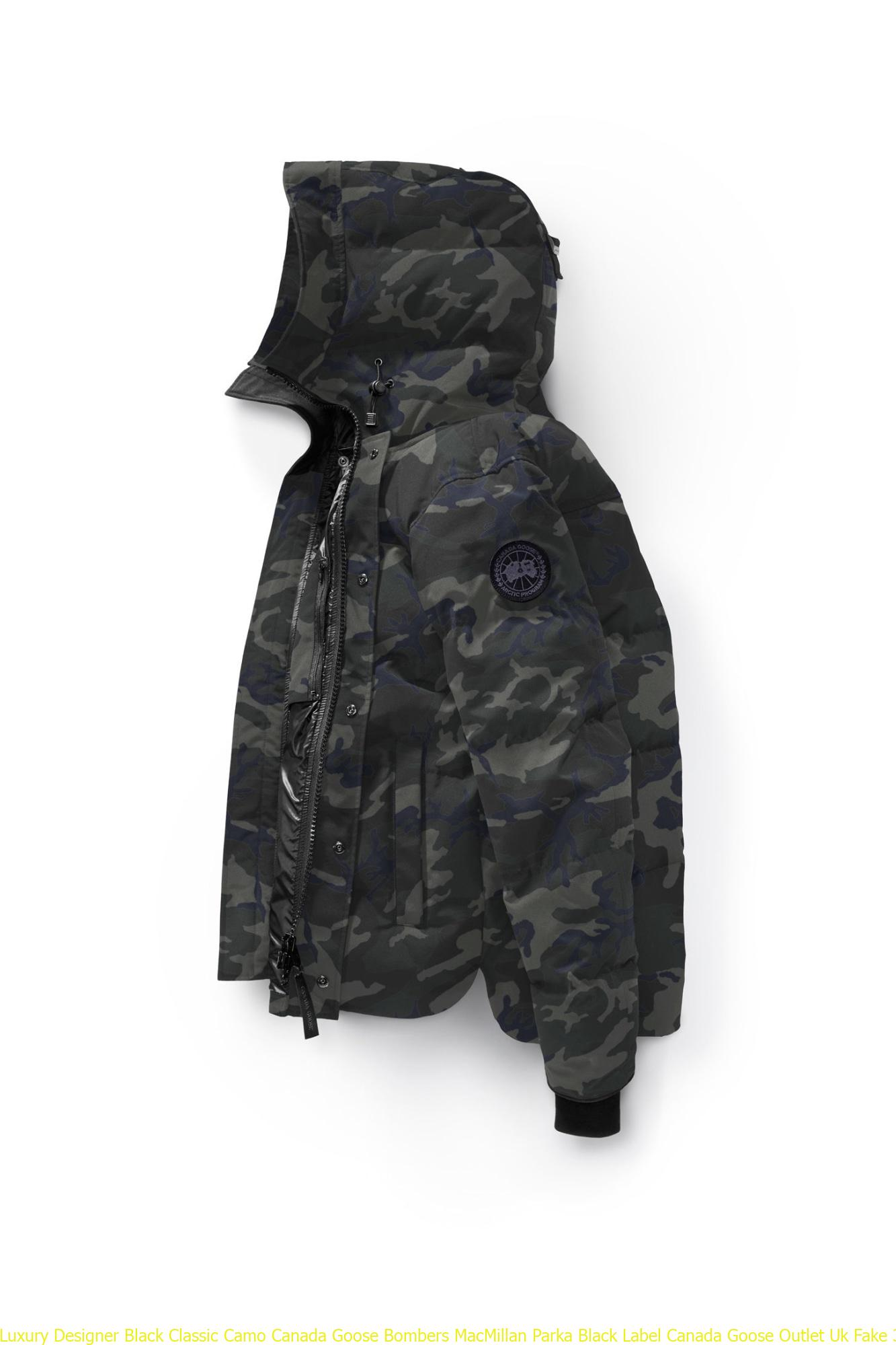 buy popular d7d40 e3268 Luxury Designer Black Classic Camo Canada Goose Bombers MacMillan Parka  Black Label Canada Goose Outlet Uk Fake 3804MB